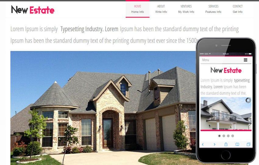New Estate a Real Estate Mobile Website Template Mobile website template Free