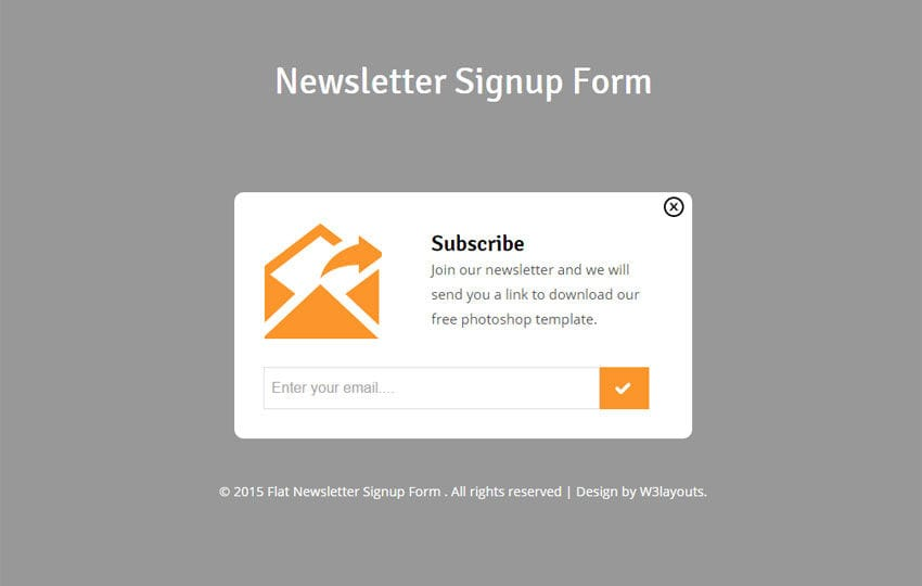 Newsletter Signup Form Responsive Widget Template  Free Sign Up Template