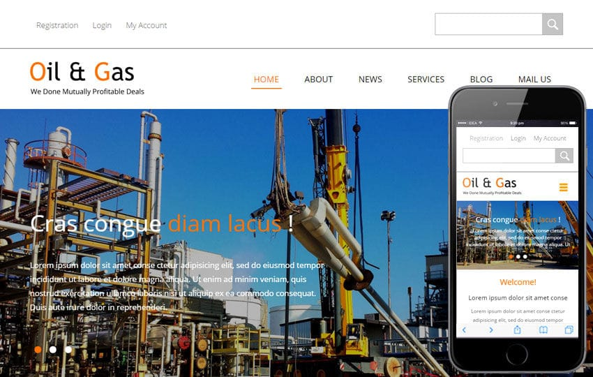 Oil and Gas a Industrial Category Flat Bootstrap Responsive Web ...