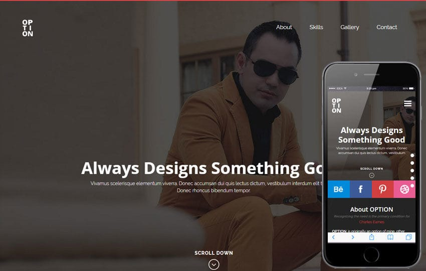 Option a Personal Portfolios Flat Bootstrap Responsive Web Template Mobile website template Free