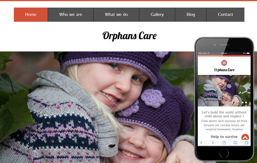 Orphans Care Charity Category Flat Bootstrap Responsive Web Template Mobile website template Free