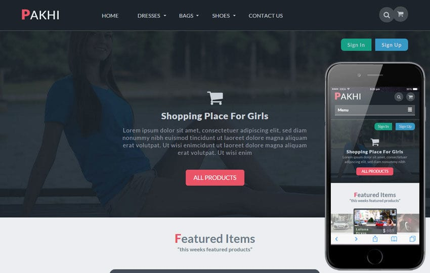 Pakhi a Flat Ecommerce Bootstrap Responsive Web Template Mobile website template Free
