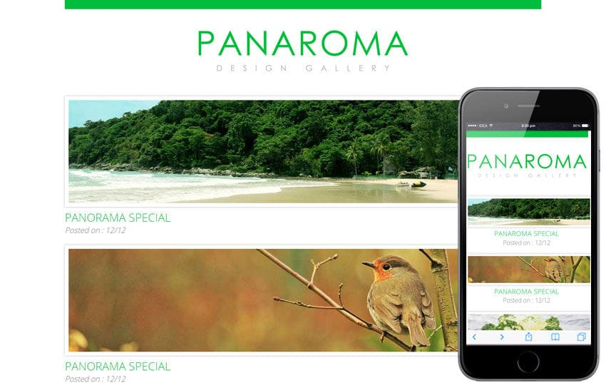 Panaroma web and mobile website template for free Mobile website template Free