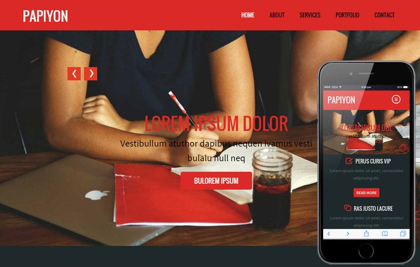 Papiyon a Corporate Portfolio Flat Bootstrap Responsive web template Mobile website template Free