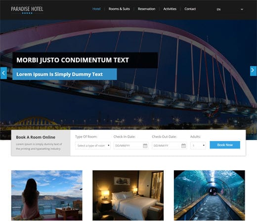 Free website template CSS HTML5 Paradise Hotel a Flat Responsive web template