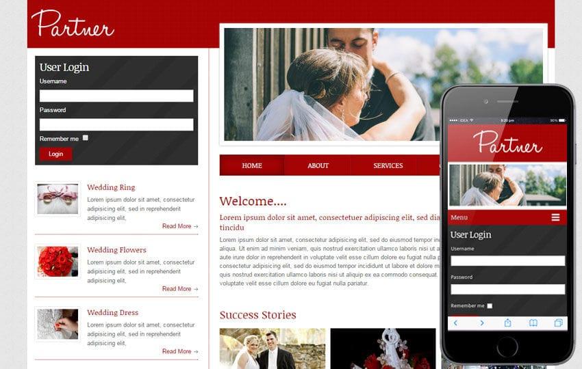 Partner a wedding planner Mobile Website Template Mobile website template Free