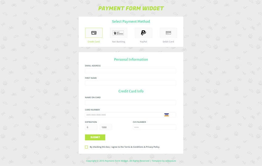 Payment Form Responsive Widget Template Throughout Payment Form Template