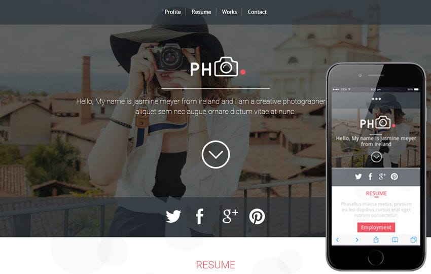 PH CV a Photographers Portfolio Flat Bootstrap Responsive Web Template Mobile website template Free