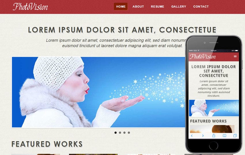 Photo Vision web and mobile website template for free Mobile website template Free