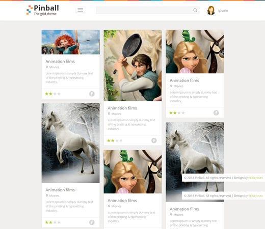 Free website template CSS HTML5 Pinball Responsive Grid Style Blog Flat web template