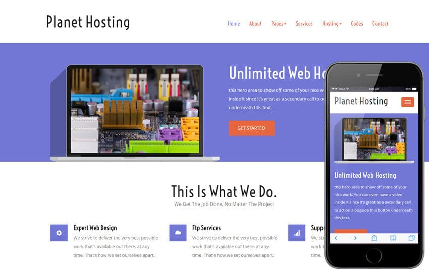 Planet Hosting a Web Hosting Flat Bootstrap Responsive Web Template Mobile website template Free