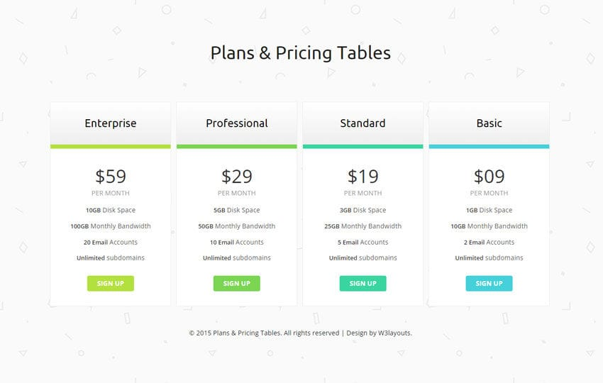 Clean plans and pricing tables responsive widget template for Pricing table design