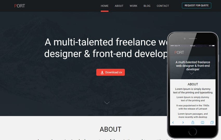 Port a Onepage Portfolio Flat Bootstrap Responsive Web Template Mobile website template Free