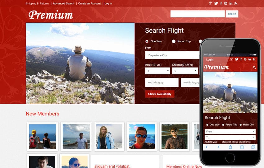 Premium a travel guide Mobile Website Template Mobile website template Free