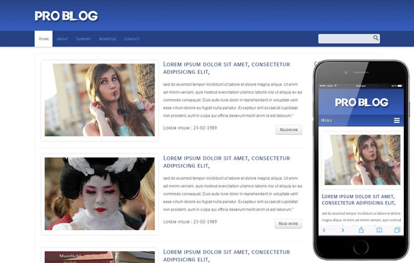 Pro Blog web and mobile website template for free Mobile website template Free