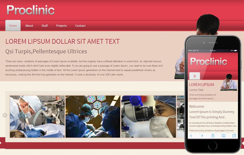 Pro Clinic Hospital Mobile Website Template Mobile website template Free