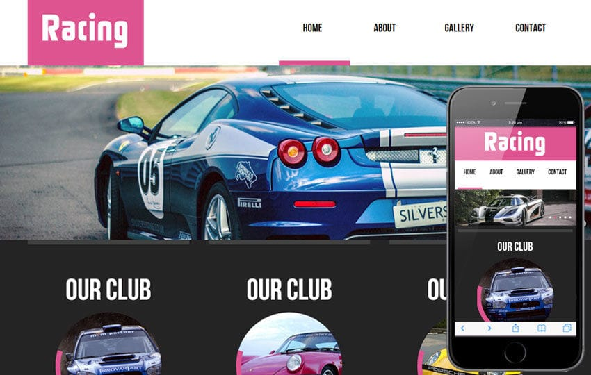 Racing automobile Mobile Website Template by w3layouts