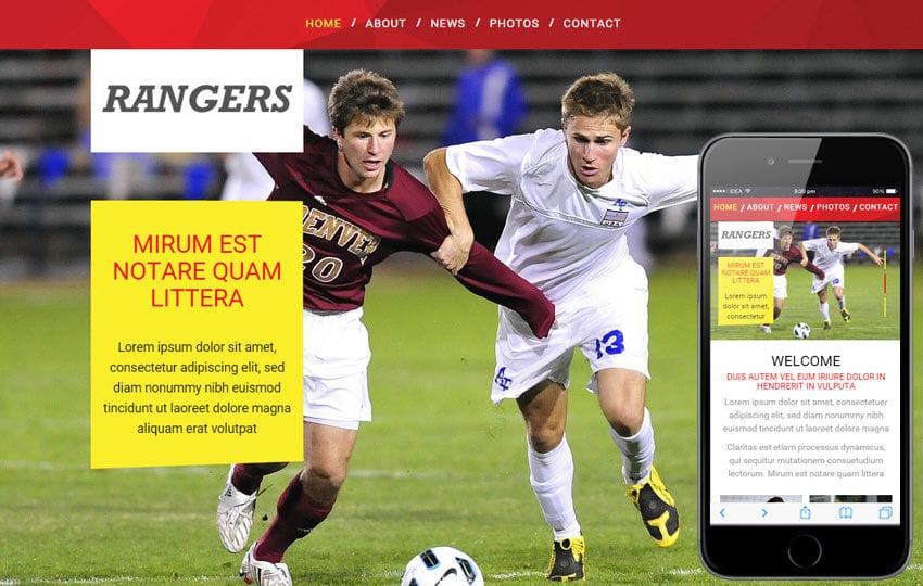 Rangers Sports Category Flat Bootstrap Responsive Web Template Mobile website template Free