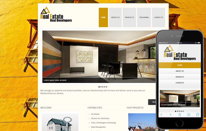 new real estate web template and mobile website template for free by