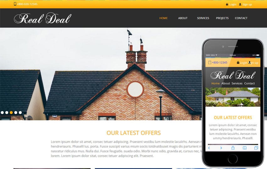 Real Deal – Real Estate Mobile Website Template