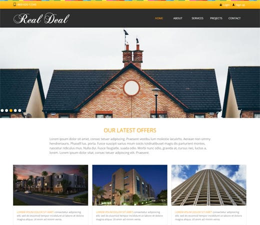 Free website template CSS HTML5 Real Deal – Real Estate Mobile Website Template