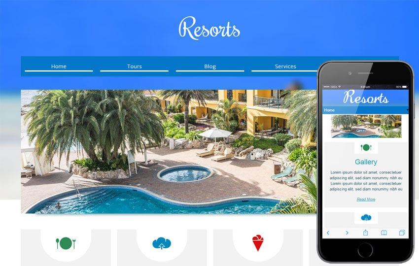 Resorts a Hotel Mobile Website Template Mobile website template Free