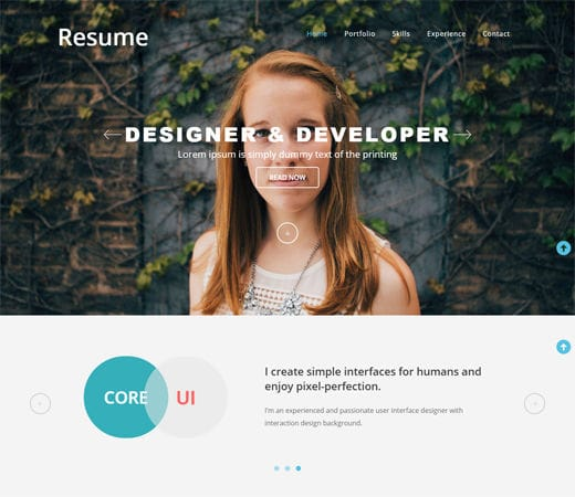 Free website template CSS HTML5 Resumer a SinglePage Flat Responsive web template