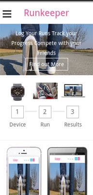 Mobile website Template Runkeeper a mobile app Responsive web Template