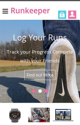 Free Iphone Smartphone web template Runkeeper a mobile app Responsive web Template