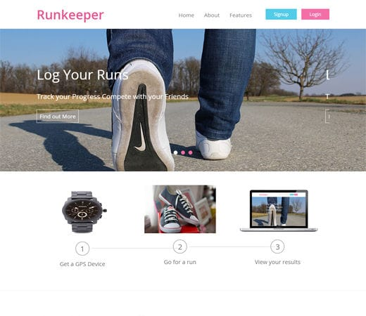 Free website template CSS HTML5 Runkeeper a mobile app Responsive web Template