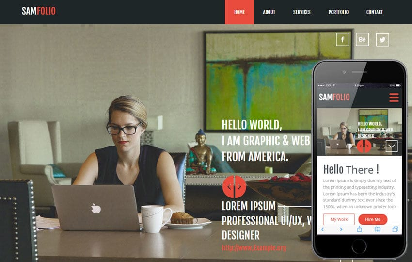 Sam Folio a Onepage Portfolio Flat Bootstrap Responsive Web Template Mobile website template Free