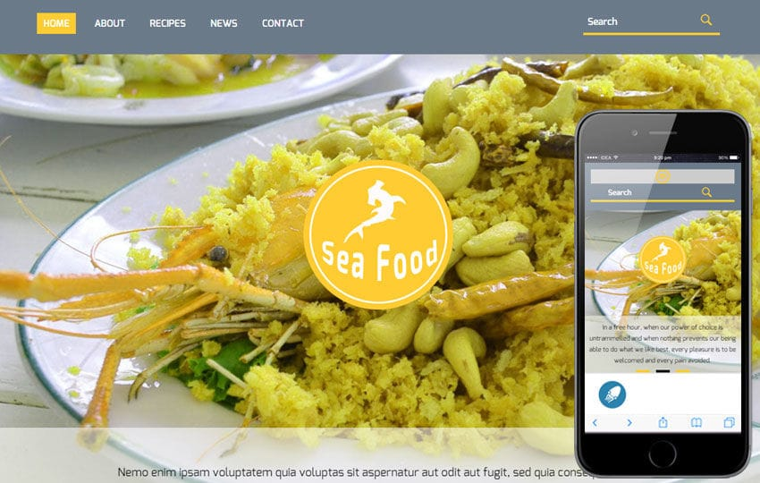 Sea Food a Hotel Category Flat Bootstrap Responsive Web Template Mobile website template Free