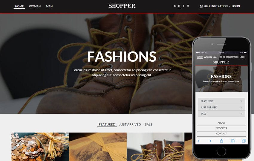 Shopper a Flat Ecommerce Bootstrap Responsive Web Template Mobile website template Free