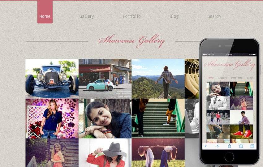 Photo showcase gallery web and mobile template for free Mobile website template Free
