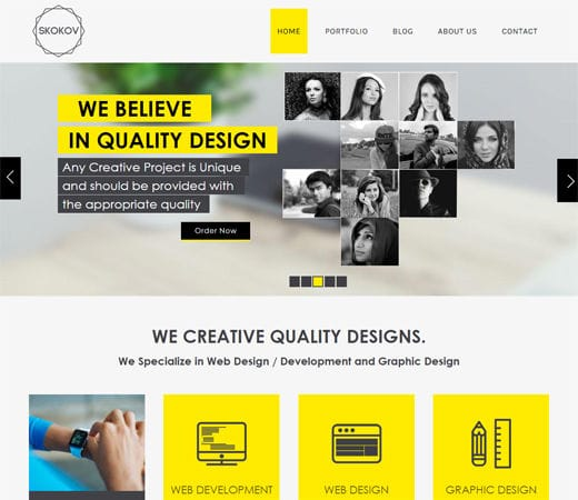 Free website template CSS HTML5 Skokov Corporate Flat Responsive web template
