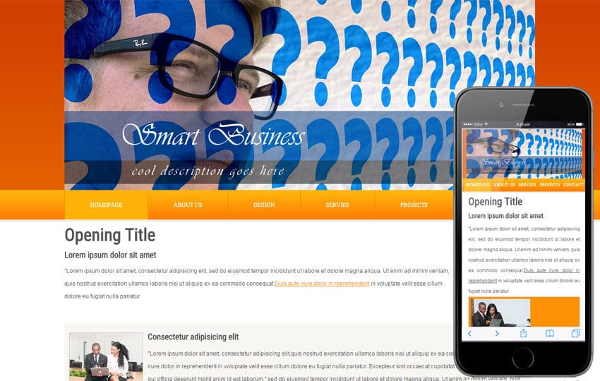 Free Smart Business Webtemplate and Mobile Webtemplate for companies Mobile website template Free