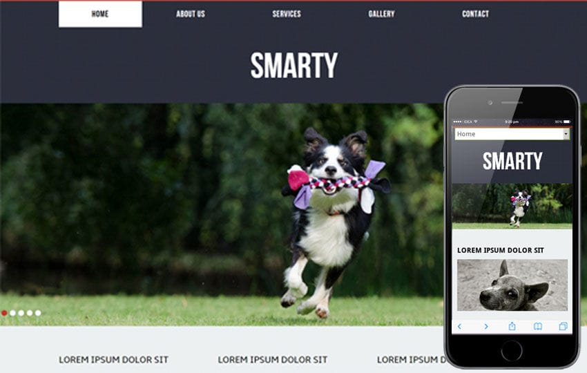 Smarty a animals and pets Mobile Website Template by w3layouts