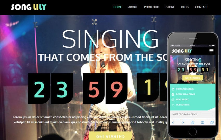 Song Lily a Entertainment Category Flat Bootstrap Responsive Web Template Mobile website template Free