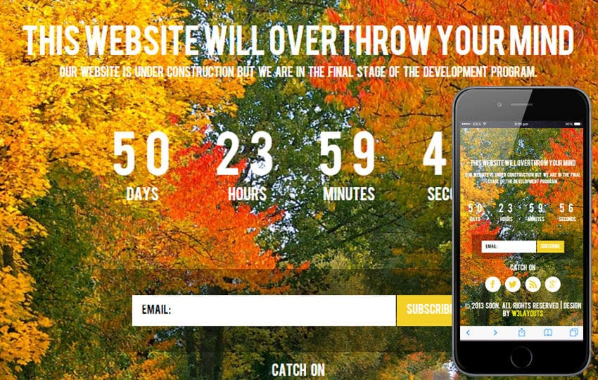 Soon Under Construction Mobile Website Template Mobile website template Free