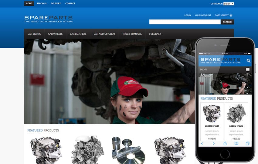 Spare Parts Automobile Mobile Website Template Mobile website template Free