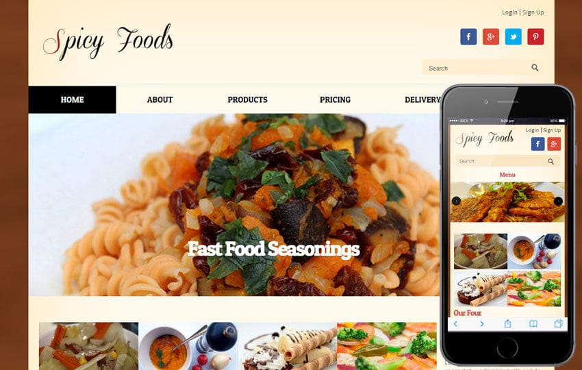 Spicy Food a food corners Mobile Website Template Mobile website template Free