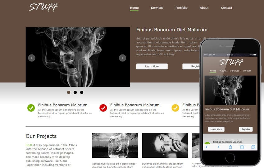 Stuff fancy look corporate web template and Mobile template for free Mobile website template Free