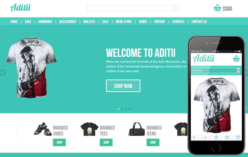 Aditii a Flat ECommerce Responsive Web Template Mobile website template Free
