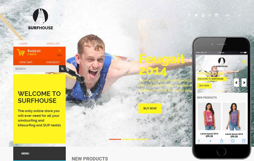 Surfhouse a Flat ECommerce Bootstrap Responsive Web Template Mobile website template Free