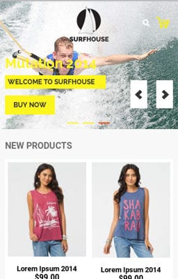 Free Iphone Smartphone web template Surfhouse a Flat ECommerce Bootstrap Responsive Web Template