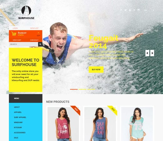 Free website template CSS HTML5 Surfhouse a Flat ECommerce Bootstrap Responsive Web Template