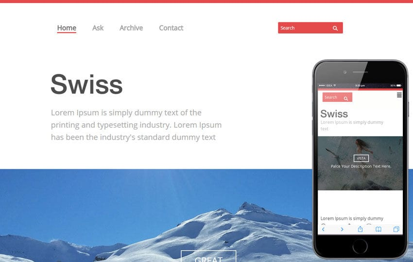 Swiss Single page Blogging Responsive website template Mobile website template Free