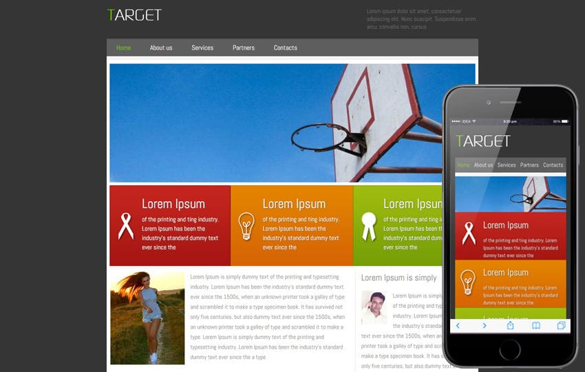 Free Target corporate web template and Mobile template Mobile website template Free