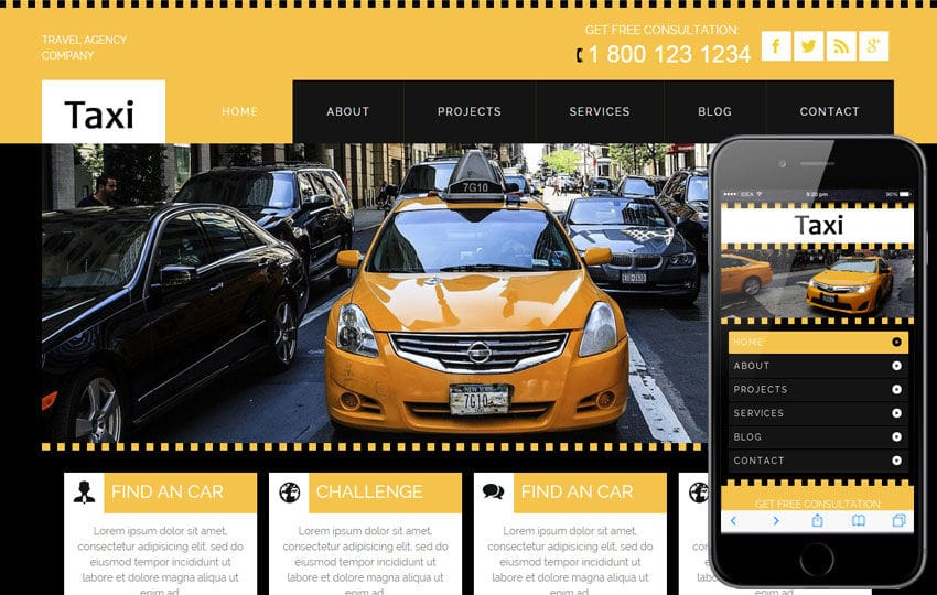 Taxi a taxi services Mobile Website Template by w3layouts