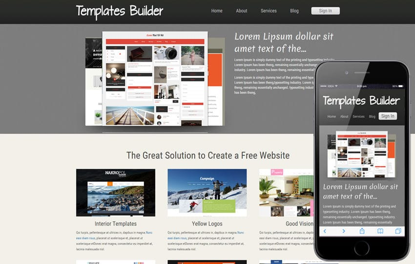 New Template Builder Web And Mobile Website For Free